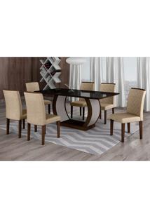 Conjunto De Mesa De Jantar Com Vidro E 6 Cadeiras Maia Linho Castor E Preto