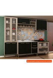 Cozinha Compacta Vitória Ii 9 Pt 5 Gv Preta E Creme