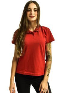 Camiseta Rich Young Pã³Lo Bã¡Sica Lisa Manga Curta Vermelha - Vermelho - Feminino - Dafiti