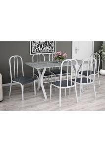 Conjunto De Mesa Miame 150 Cm Com 6 Cadeiras Madri Branco E Mesclado Petróleo