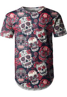 Camiseta Longline Over Fame Caveiras Mexicanas Preta