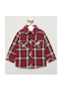 Camisa Infantil De Flanela Estampada Xadrez Manga Longa Vermelha