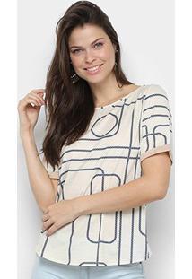 Camiseta Lança Perfume Estampada Feminina - Feminino-Marinho+Bege