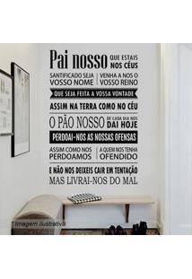 Grudado Adesivo De Parede Oraã§Ã£O Pai Nosso Preto & Branco 160X120Cm