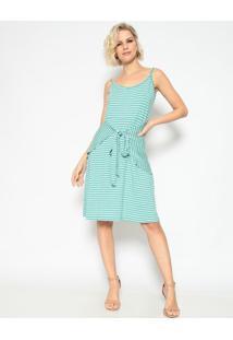 Vestido Listrado Com Amarração - Verde Água & Cinza Clarmaclu