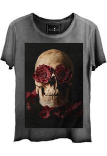 Camiseta Feminina Estonada Corte A Fio Skull Roses