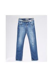 Calça Jeans Infantil Com Strass E Cinto Metalizado Azul Escuro
