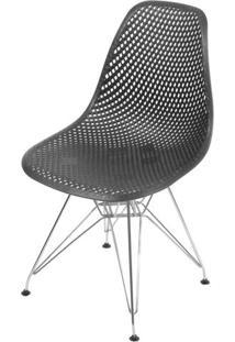 Cadeira Eames Furadinha Cor Preto Com Base Cromada - 54703 - Sun House