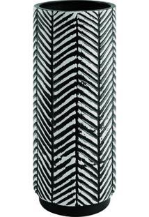 Vaso Abstrato Em Cerâmica- Branco & Preto- 28Xø11,5Cmart
