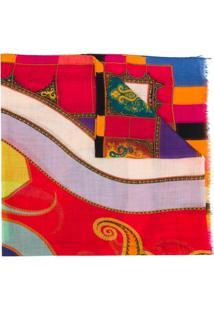 Etro Cachecol Color Block De Cashmere - Laranja