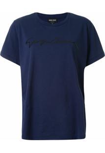 Giorgio Armani Camiseta Com Estampa De Logo - Azul