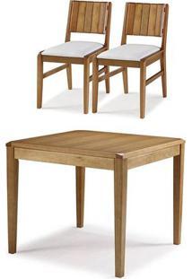 Conjunto Salvador Mesa Jantar 90Cm Tampo Madeira + 2 Cadeiras Assento Estofado - 60514 - Sun House
