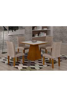 Conjunto De Mesa De Jantar Luna Com Vidro E 4 Cadeiras Ane Ii Suede Amassado Imbuia E Branco