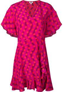 Kenzo Vestido Com Estampado Do Babado - Rosa