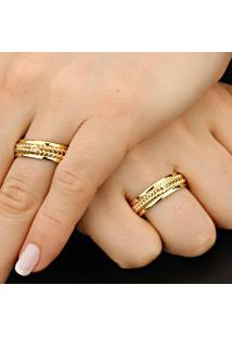 Aliança De Ouro Com Filete Em Ouro Branco - As0023