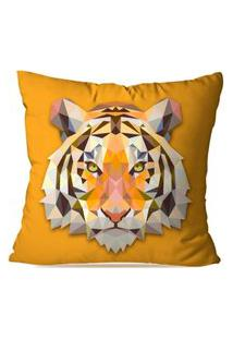 Capa De Almofada Avulsa Decorativa Tigre Geométrico 45X45Cm