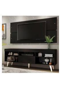Rack Com Painel Para Tv Até 65 Polegadas Madesa Miami Com Pés Preto/Branco Preto