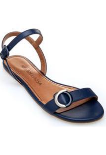Sandalia Rasteira Enfeite Personalizado Cobalto