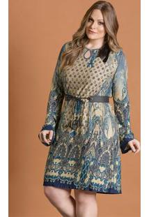Vestido Fluído Cashmere Azul Plus Size