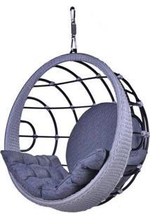 Poltrona De Balanco Bowl Em Aluminio Revestido Em Corda Cor Azul - 45200 - Sun House