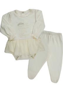 Conjunto Infantil Klin Manga Longa Strass Feminina - Feminino-Branco 4e3e38c287f