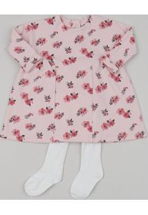 Vestido Infantil Estampado Floral Manga Longa + Meia Calça Rosa Claro