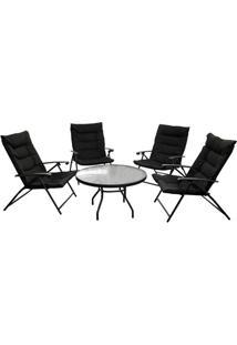 Conjunto De Cadeiras E Mesa Com 5 Peças Preto
