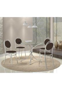 Mesa 375 Cromada Com 4 Cadeiras 190 Cacau Carraro