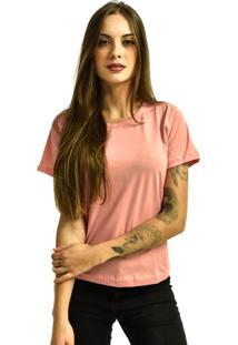 Camiseta Nakia Baby Look Gola Careca Básica Feminina Lisa Manga Curta Rosa Claro