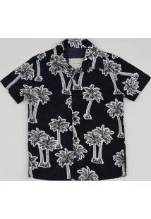 Camisa Infantil Estampada De Coqueiros Manga Curta Preta