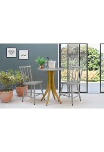 Mesa Bistrô Com 2 Cadeiras Redonda Juliette - Amêndoa E Cinza Concreto