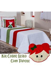 Kit Cobre Leito C/ Tapete Doll Melancia Branco/Vermelho Solteiro 05 Peças