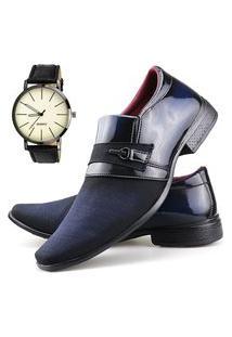 Sapato Social Neway Azul + Relógio