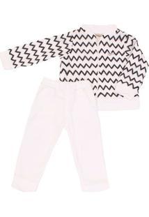 Conjunto Jaqueta E Calça Com Renda Off White E Preto - Feminino-Branco