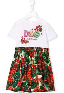 Dolce & Gabbana Kids Vestido Com Estampa De Logo - Branco