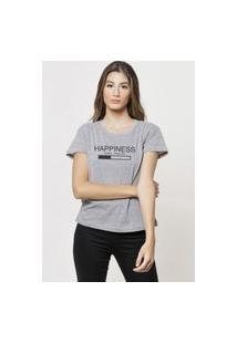 Camiseta Jay Jay Basica Happiness Loading Cinza Mescla Dtg
