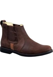 Bota Couro Doctor Shoes Brand 8613 Masculina - Masculino-Café