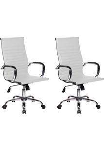 Conjunto Com 2 Cadeiras De Escritório Presidente Giratórias Eames Best Branco
