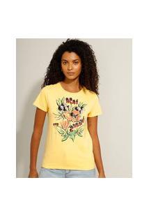 """Camiseta De Algodão """"Açaí Com Guaraná"""" Manga Curta Decote Redondo Amarelo"""