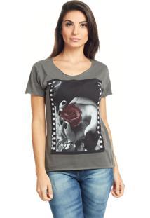 Camiseta Bossa Brasil Rosa Preta Estonado - Cinza - Feminino - Algodã£O - Dafiti