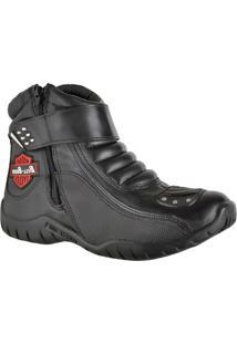 Bota Motociclista Bell Boots Couro Cano Baixo Palmilha Macia. Preto