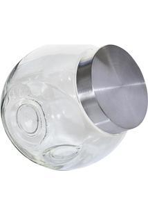 Baleiro De Vidro Com Tampa Em Aço Inox