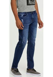 Calça Masculina Jeans Skinny Puídos