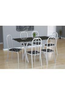 Conjunto De Mesa Miame Com 6 Cadeiras Madri Branco E Preto Floral