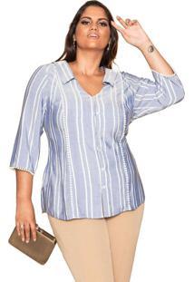 Camisa Almaria Plus Size Pianeta Listrada Azul