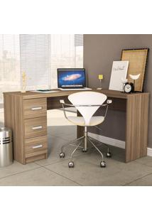 Mesa Para Computador Fênix 3 Gavetas 1184 Castanho Ff - Politorno