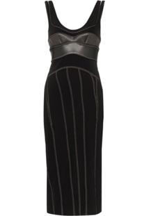 Mugler Vestido Com Pespontos Contrastantes - Preto