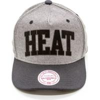 Boné Mitchell   Ness Rewind Nba Miami Heat Snapback Cinza 2a7c15700ae09