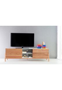 Rack Tv Contemporâneo-Moderno Eric 1600 Mdf Branco Pés Madeira Cor Jatobá 2 Portas De Madeira - 166X43,6X48,5 Cm