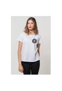 Camiseta Jay Jay Basica Rosas No Esqueleto Branca Dtg